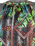Dames mouwloze top met tropical print - zwart / panter_