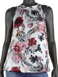 Dames mouwloze top met bloemen print - wit / roze_