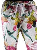 Dames comfy broek met tropical print - roze / wit_
