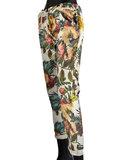 Dames comfy broek met bloemenprint - groen / wit_