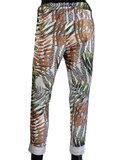 Dames comfy broek met tropical print - bruin / groen_