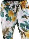 Dames comfy broek met bloemenprint - geel / wit_