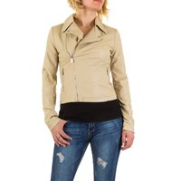 Dames biker jas / leatherlook jack - beige