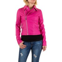 Dames biker jas / leatherlook jack - fuchsia