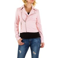 Dames biker jas / leatherlook jack - roze