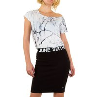 Dames jurk marmer / marble dress - wit / zwart