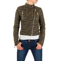 Dames biker jas / leatherlook jack army - legerprint / groen