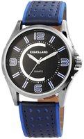 Excellanc XXL herenhorloge met lederen band - zwart / blauw