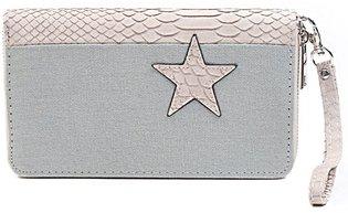 Dames portemonnee met ster - grijs / roze