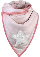 Dames driehoek sjaal met ster en teddy voering - roze