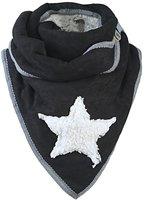 Dames driehoek sjaal met ster en teddy voering - zwart