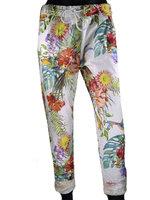 Dames comfy broek met tropical print - multicolor / wit
