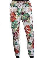 Dames comfy broek met tropical print - rood / bordeaux