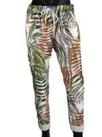 Dames comfy broek met tropical print - bruin / groen