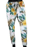 Dames comfy broek met bloemenprint - geel / wit