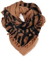 Dames imitatiebont driehoek sjaal met animalprint - camel