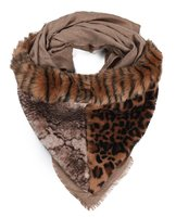 Dames imitatiebont driehoek sjaal met animalprint - bruin