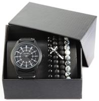 Giftset Alain Miller herenhorloge met armbanden - zwart