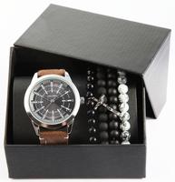 Giftset Alain Miller herenhorloge met armbanden - bruin