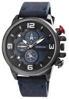 Excellanc XXL herenhorloge met lederen band - blauw