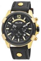 Elite Chronograph XXL herenhorloge met lederen band - zwart / goud
