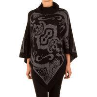 Poncho met Mandarijns design - zwart