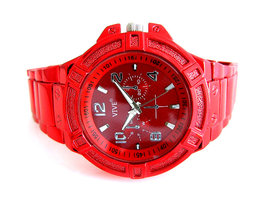 Vive herenhorloge met gekleurde stalen band - rood