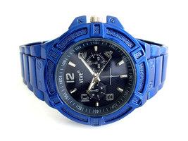 Vive herenhorloge met gekleurde stalen band - blauw