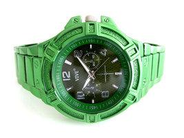 Vive herenhorloge met gekleurde stalen band - groen