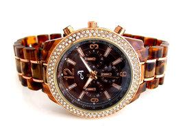 A-Watch dameshorloge met kunststof band - bruin / rosé