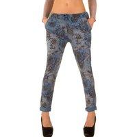 Dames katoenen broek / chino met bloemenprint - blauw