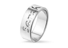 Relatiering / verlovingsring echt zilver met naam gravering - model G