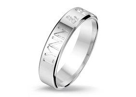 Relatiering / verlovingsring echt zilver met naam gravering - model A