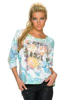Dames sweater - blauw / koraal
