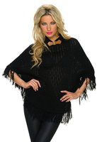 Dames poncho / omslagdoek met franjes - zwart