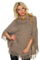 Dames poncho / omslagdoek met franjes - bruin