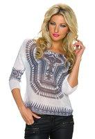 Dames trui met Aztec-print - wit / grijs