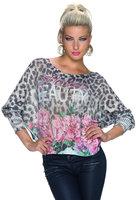 Dames trui met panterprint - grijs / roze