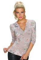 Dames shirt met lange mouw - oudroze / bloemenprint