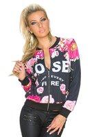 Dames sweatjasje met bloemenprint - zwart / roze