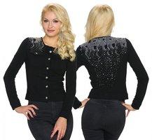 Dames jasje / blazer met strass - zwart