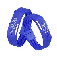 Digitaal touch horloge met rubberen band - blauw