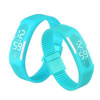 Digitaal touch horloge met rubberen band - turquoise