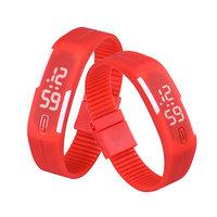 Digitaal touch horloge met rubberen band - rood