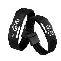 Digitaal touch horloge met rubberen band - zwart