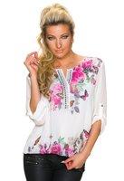 Dames shirt met lange mouw - wit / vlinders
