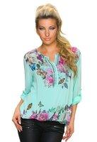 Dames shirt met lange mouw - turquoise / vlinders
