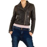 Dames biker jas / leatherlook jack - grijsbruin