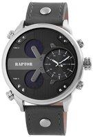 Raptor tripletime XXL horloge met lederen band - grijs