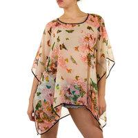 Dames zomer poncho / tuniek met vlinders - roze